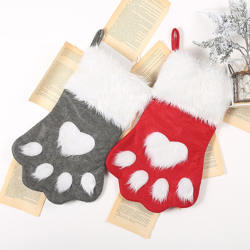 1 Pza bolsa de regalo de navidad mascota gato pata calcetín de...