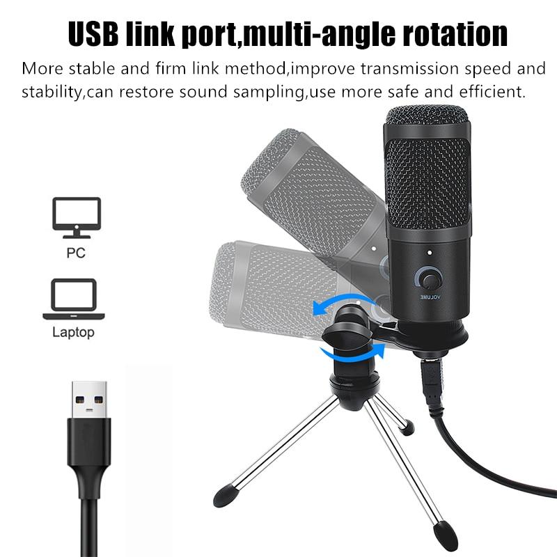 ZUIDID PC Desktop USB Condenser Microphone Recording Live Voice Microphone PS4 Sound Card Microphone Set