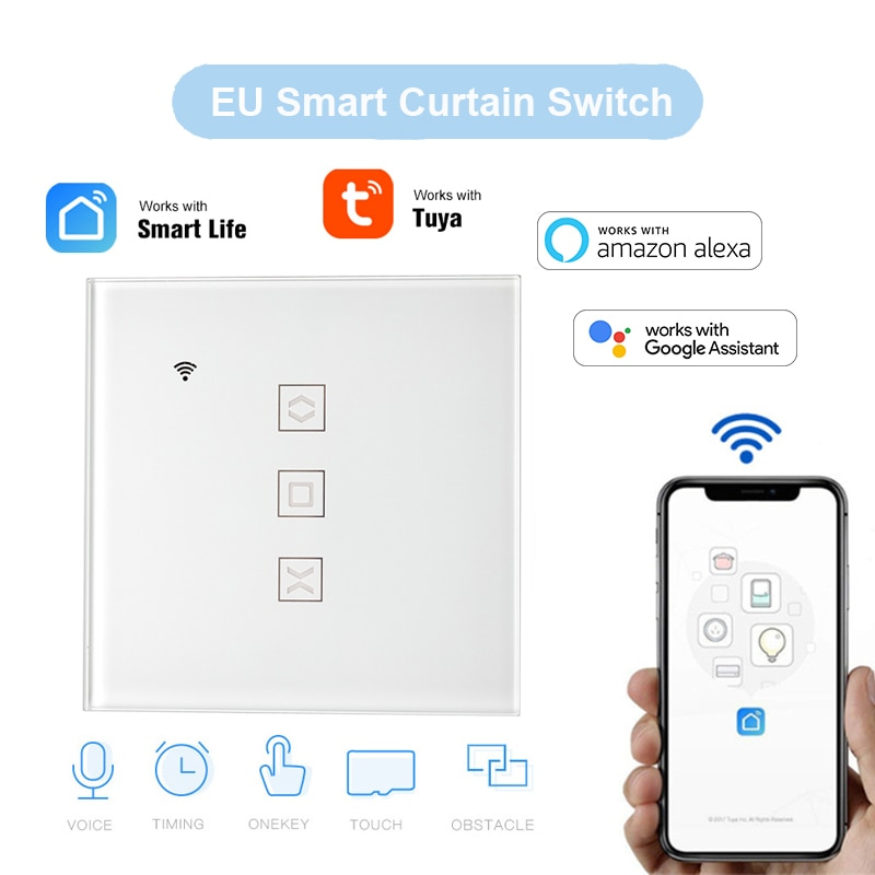 Smart WiFi Curtain Switch for Electric Motorized Curtain Blind Roller Shutter App Remote Control Schedule Google Home Alexa Siri