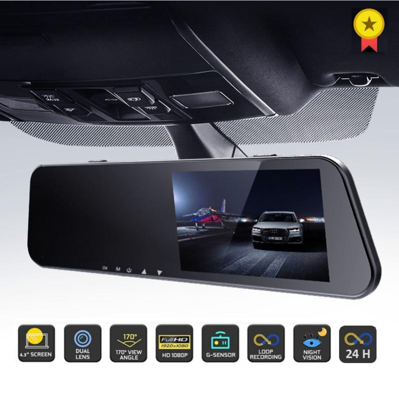 24H Car DVR Dash Camera Rear View Dual Lens 1080P 4.3in Full HD Cycle Recording Dash Cam Video Recorder Mirror Dashcam Black Box