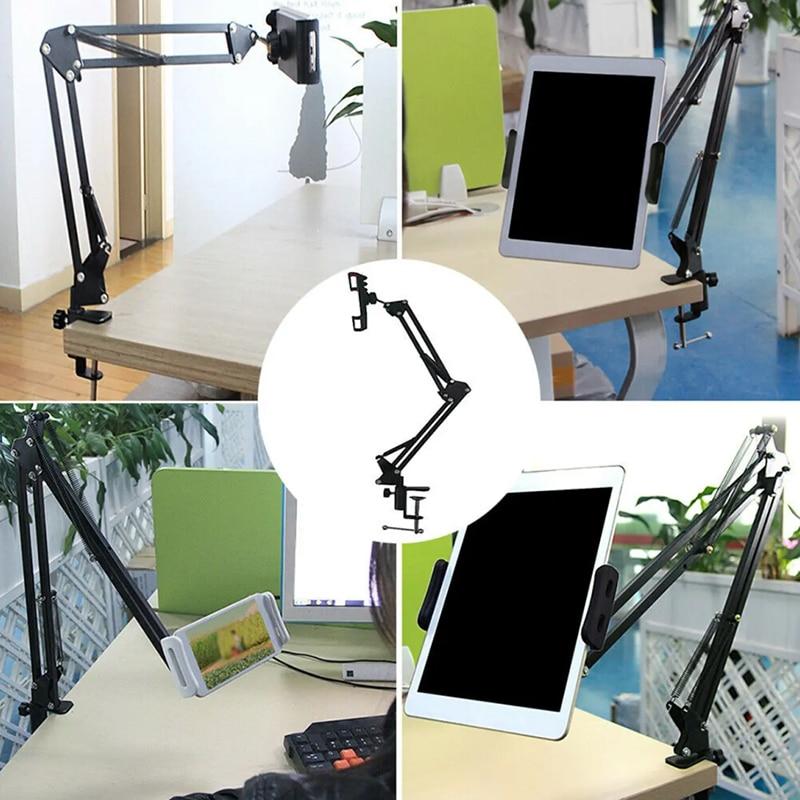 Soporte de tableta para Smartphones perezosos, soporte de brazo giratorio de 360 °, soporte de montaje en mesa, soporte para cama de escritorio, mesa portátil para teléfonos inteligentes