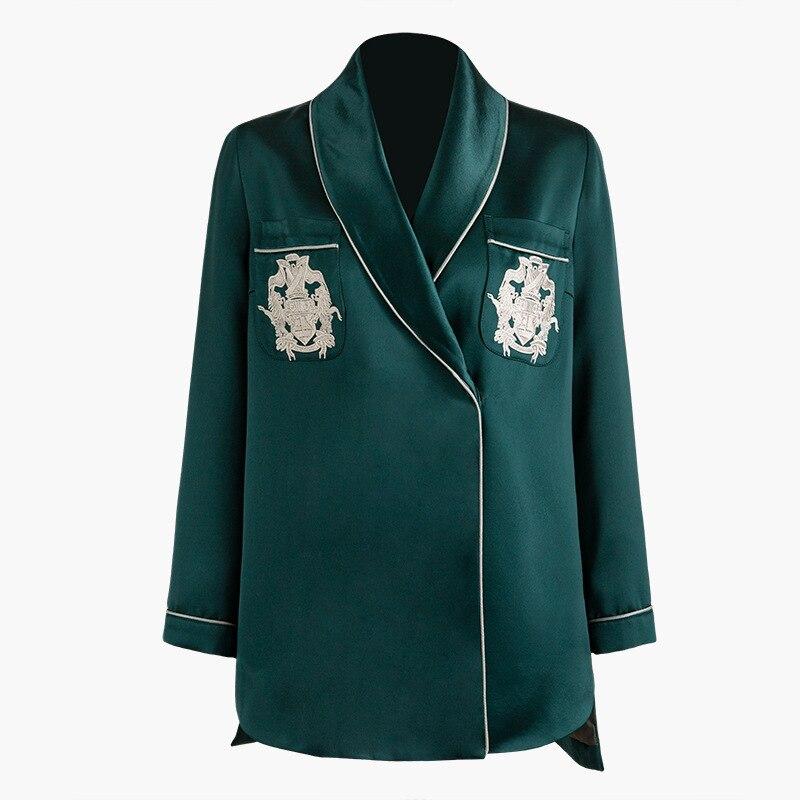 Pijamas nuevos wind hit back coat color bordado acetato satén tipo camisa irregular hem S1074