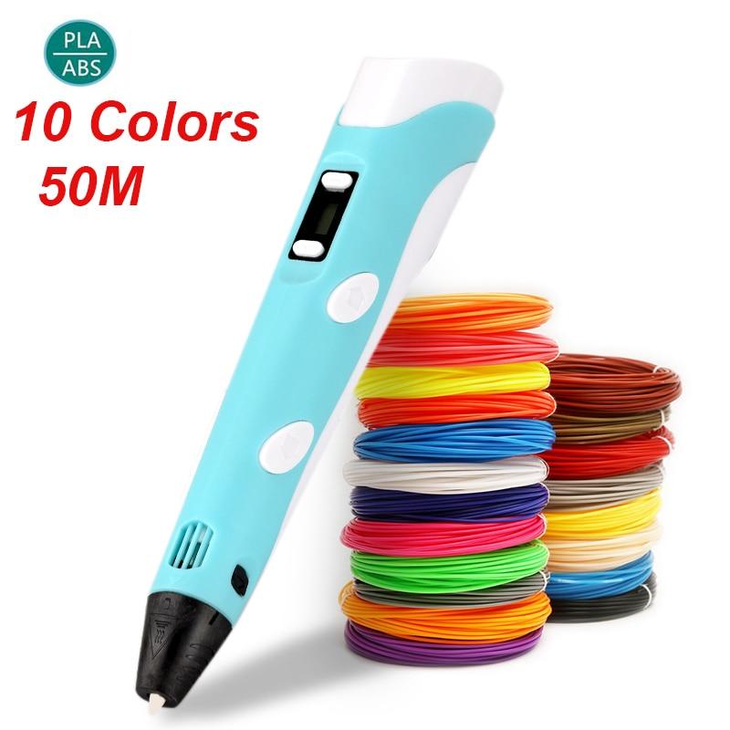 Caneta 3d tela led diy 3d impressão caneta 50m pla filamento criativo brinquedo presente para crianças design desenho 3d impressora caneta desenho stift Caneta 3D    -