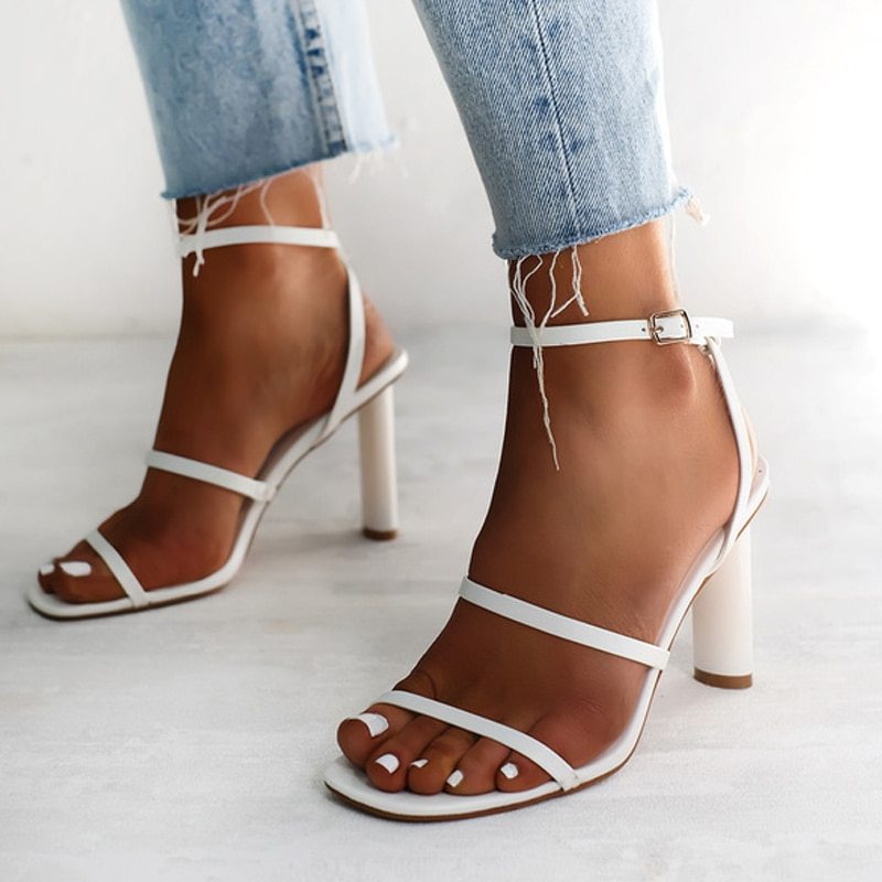 Women Sandals Square Toe Narrow Band High Heels Ladies Sexy Party Shoes Ankle Wrap Buckle Strap Fema