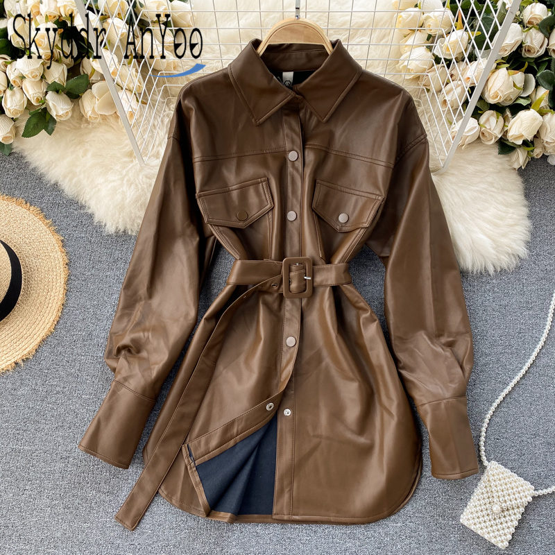 Fashion Women's Autumn Winter PU Leather Coats 2020 New Long Sleeve Jacket With Belt Chic Trench Shirt Female Streetwear female costume emberens 4217 striped handsome casual with belt autumn winter российское production delivery from russia