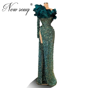 Prom Party Dresses Custom Couture Arabic Beading Evening Dresses Formal Gowns One Shoulder 2020 Dubai Middle East Abendkleider