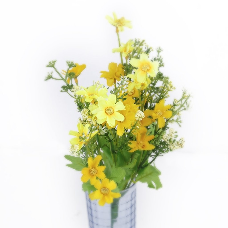 1 bouquet of cineraria fake Bouquet of artificial flowers for Home Decor / Office - yellow  - buy with discount
