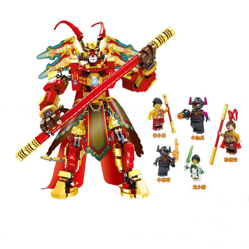 Lenda chinesa o macaco rei wu kong blocos de construção mecha modelo conjunto diy brinquedos educativos como presentes para crianças
