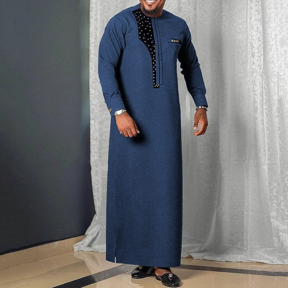 Dubai Abaya Men's African Dress Dashiki For Men 2021 Tradition Riched Kaftan Man Long Sleeve Blue Plus Size Long Robe Casual