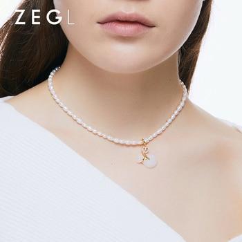ZEGL High Grade of Freshwater Pearl Necklace Female nian qing kuan Light Luxury Minority Fashion White Jade Pendant Temperament