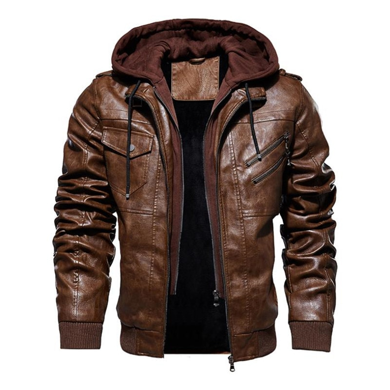 winter men's leather jacket motorcycle hooded jacket men's warm Casual PU leather coat Fleece men's Coats Brand clothing
