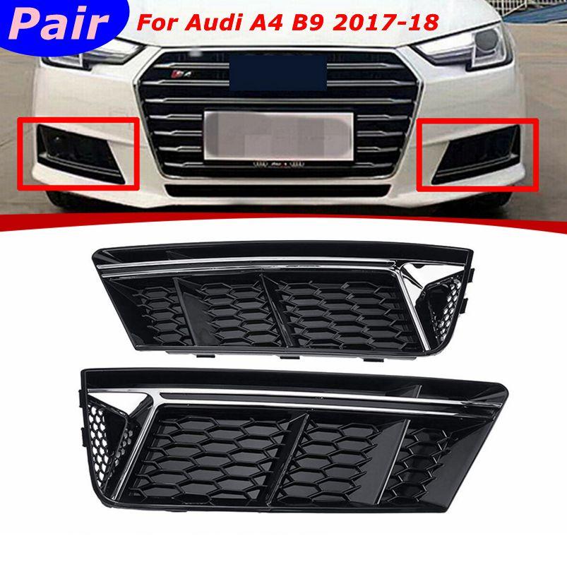 2 unids/par protector de rejilla de luz antiniebla inferior de parachoques delantero estándar plateado para Audi A4 B9 2017-2018