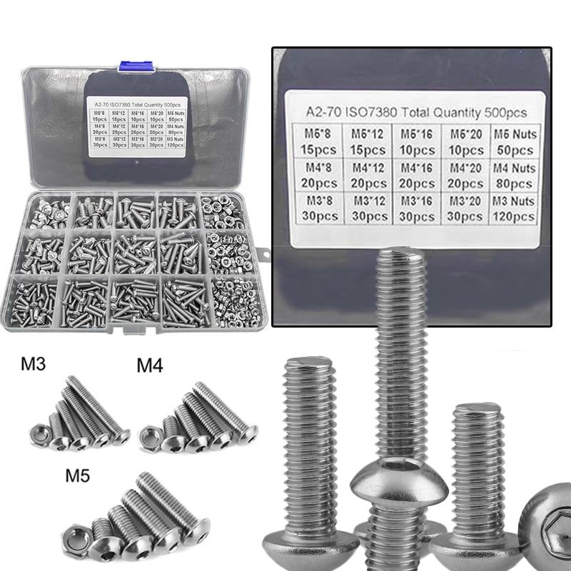 800Pcs Screws Nuts Set M3 M4 M5 Stainless Steel Flat Head / Button Head Hex Socket Head Cap Bolts Sc