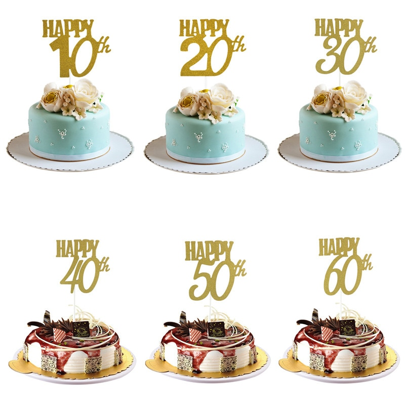 1 Uds., 30 cumpleaños Decoración de Pastel de feliz, feliz 40/50/60 °, suministros de decoración de pastel de cumpleaños, suministros de fiesta de cumpleaños.