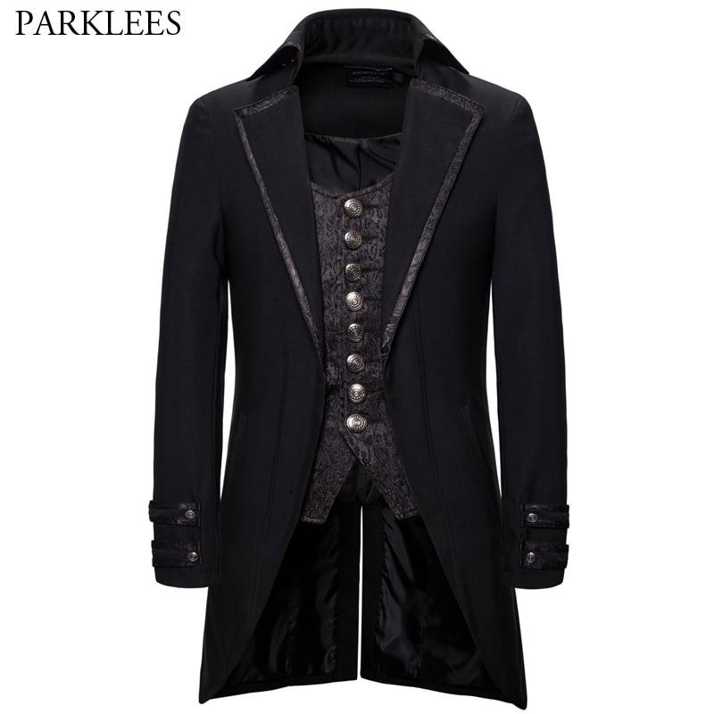 Traje Retro Para Hombre con solapa, dos piezas, gótico, Steampunk, esmoquin, Victoriano, Cosplay, golondrina para hombre, uniforme 2XL