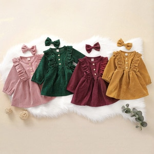 Baby Girls Party Dress Casual Long Sleeve Corduroy Princess Ruffles Button Dress Autumn Children Clothing