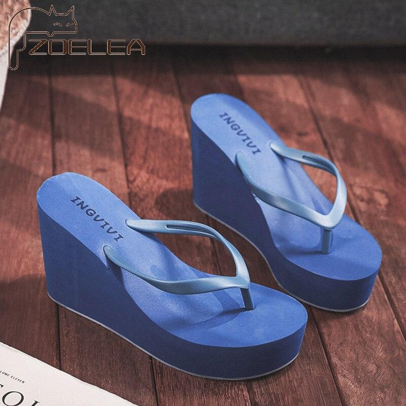 ZOELEA Chunky Heel Summer Beach Platform Women Flip Flops Slides Faux Sueded Open Toe Soft Sole Designer Sandals Women
