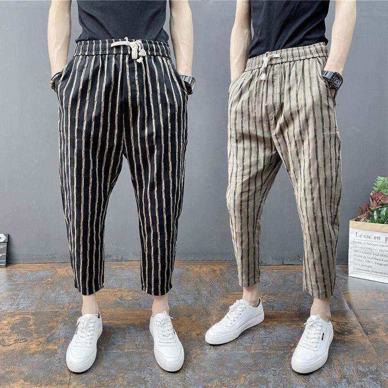 Леггинсы Harlan мужские тонкие, дышащие универсальные повседневные брендовые, молодежная модная уличная одежда в Корейском стиле, лето 2021