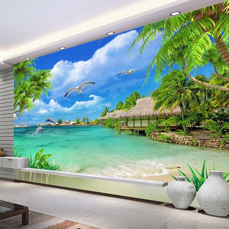 custom 3d photo wallpaper living room mural sticker surf sea sunset seascape 3d painting sofa tv background wall non woven mural Custom 3D Photo Wallpaper Beach Sea View Coconut Trees Scenery Wall Painting Living Room Sofa TV Background Mural Wall Paper