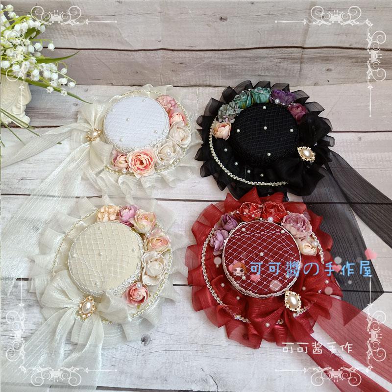 Hecho a mano Lolita sombrero plano precioso té fiesta-elegante sombrero novia accesorios del océano oscuro CLA Bowler sombrero