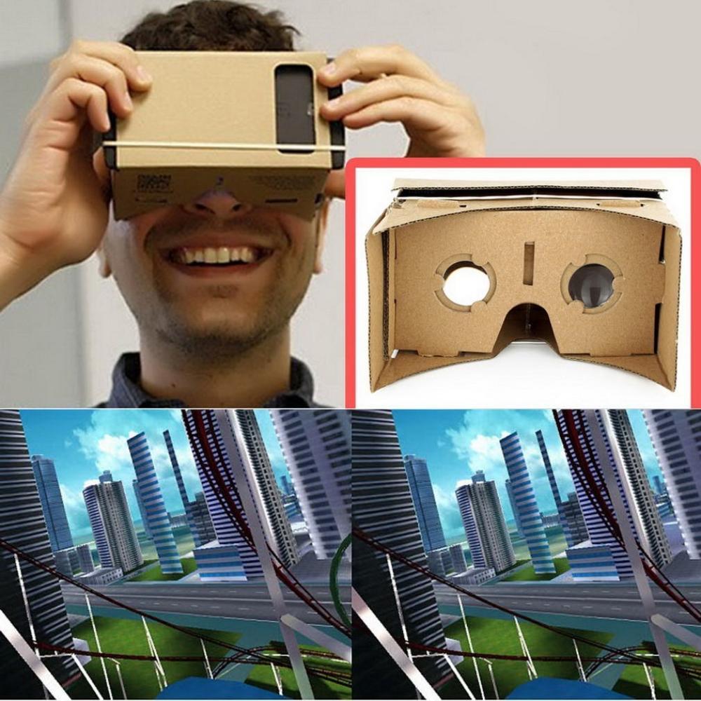 Fashion Clear DIY Cardboard 3D VR Virtual Reality Glasses For Smartphone High quality DIY Magnet Google Cardboards Glasses