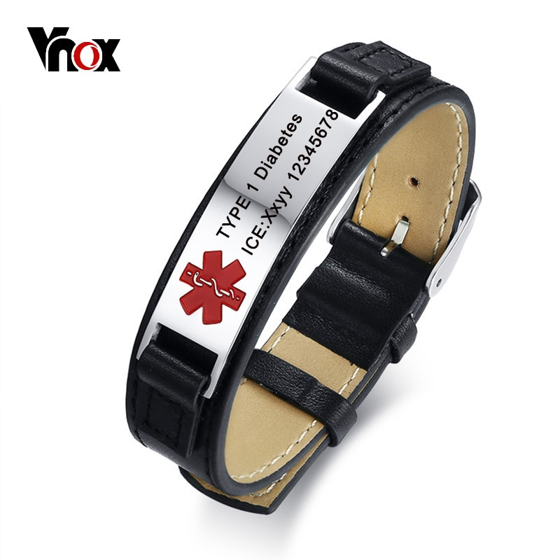 Vnox Free Engraving  Leather Bracelet Medical Alert ID Men Jewelry DIABETES ICE