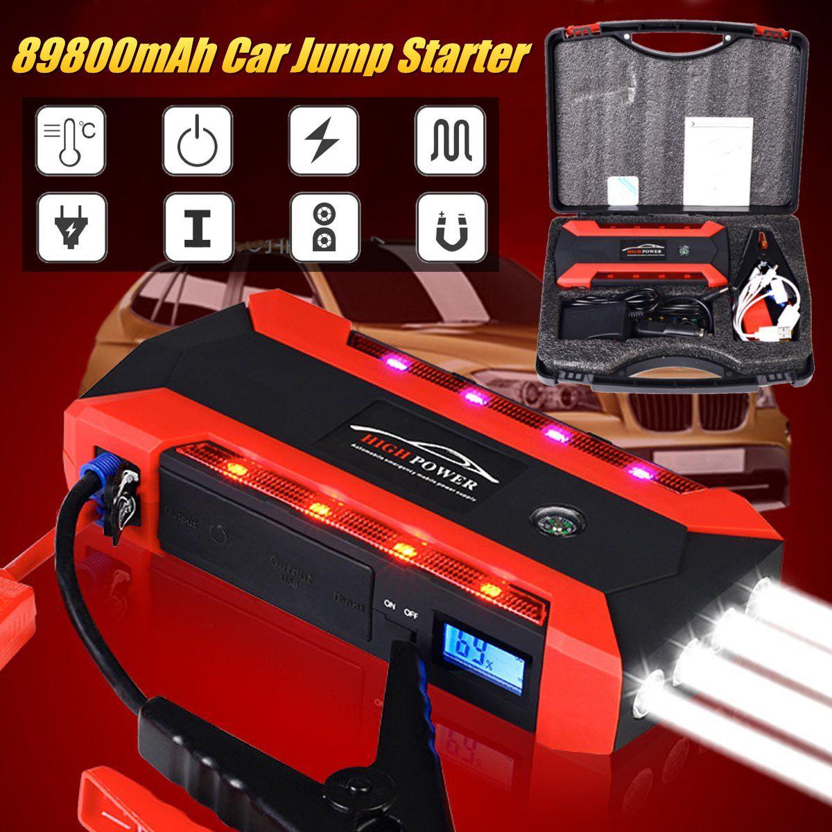 600A 68800mAh 12V 4USB arrancador de batería de coche banco de energía recargable batería de emergencia multifunción linterna SOS