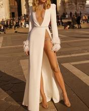 Femmes profonde V clouté embelli robe dhiver blanc manches longues Split robe de soirée vestidos