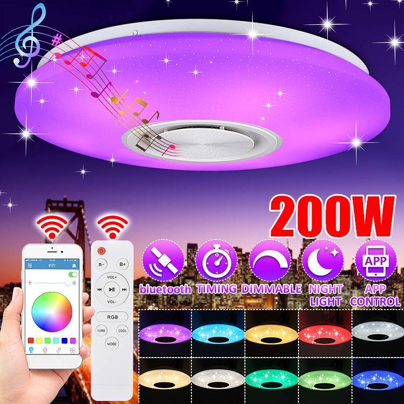 200 واط RGB عكس الضوء الموسيقى مصباح السقف التحكم عن بعد و APP أضواء السقف AC220V المنزل سمّاعة استريو بلوتوث تركيبة إضاءة