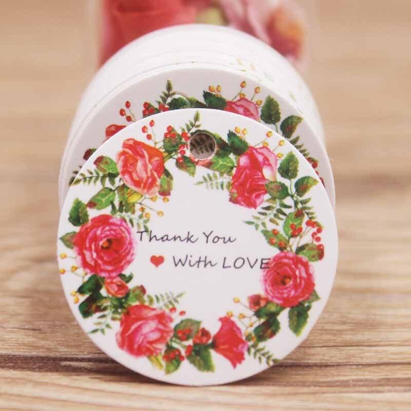 Etiqueta de forma redonda gracias con amor 3x3cm Blanco/marrón color rojo flor un dibujo lateral de moda/barato primero elegir etiqueta
