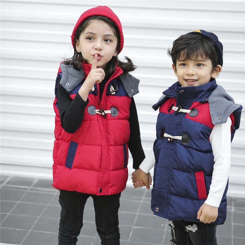 2020 automne hiver enfants gilets à capuche manteaux Plus velours épaississement pour garçons et filles unisexe chaud enfants veste vêtements 3-8year