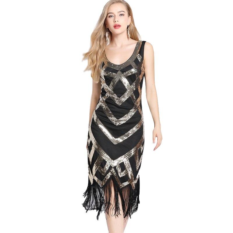 Mujeres 1920s Vintage vestido de fiesta gran Gatsby lentejuelas cuentas Flapper embellecido Vestidos borla vestido de fiesta de noche cuello en V con flecos