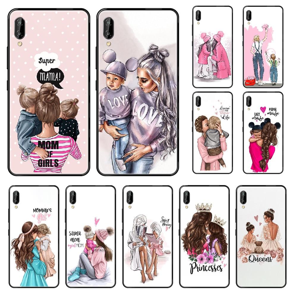 Spuer или «i Love Mama» для мам и дочек, чехол для телефона Huawei Honor коврики, 5, 7, 8, 9, 10 и 20 i A X Lite рro черный симпатичная Водонепроницаемая тенденции Чехол для мобильного телефона