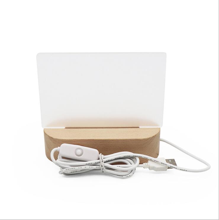 10/20 juegos de Base de luz USB con paneles acrílicos en blanco lámpara de mesa de madera luces de noche DIY