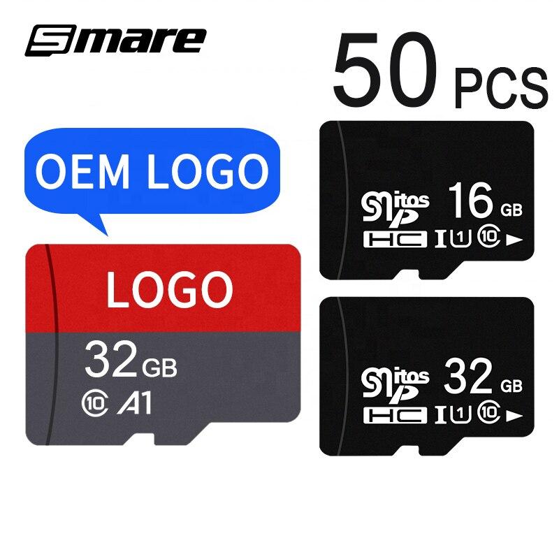 Custom Logo Wholesale Real Capacity Memory Card 50PCS 32GB 16GB 8GB 64GB 128GB 256GB Micro SD Card Class10 U1 U3 SD Original Mem