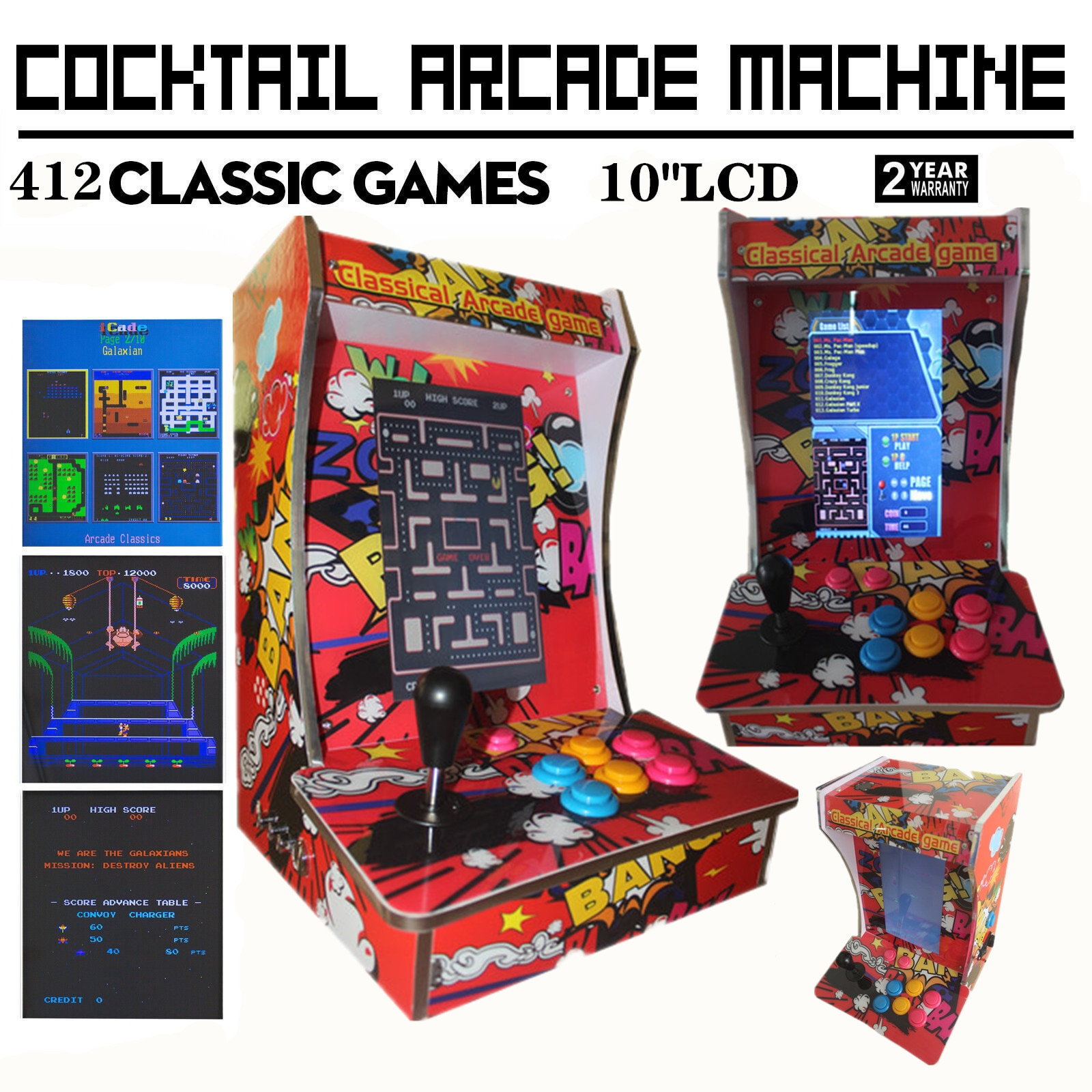 Ms. Pac-Man вертикальный бартоп/настольная Коктейльная аркадная машина с 412 классическими играми (10,4 дюймовый ЖК-монитор)
