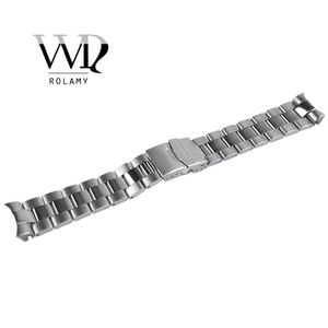 Rolamy 22mm Sliver Stainless Steel Wrist Watch band Replacement Metal Watchband Bracelet Double Push Clasp For Seiko