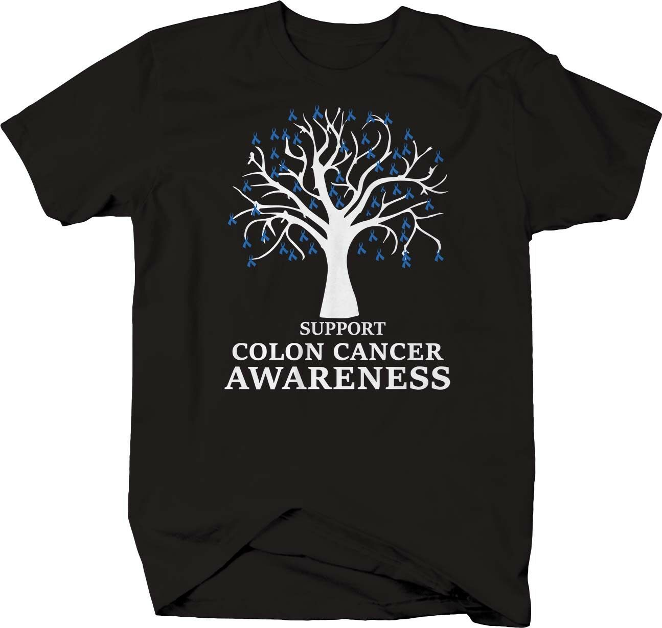 Apoyo de cáncer de Colon conciencia árbol camiseta con lazo Tee camisa de manga corta
