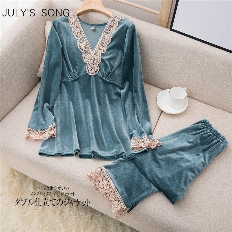 JULY'S أغنية 2 قطع المخملية أزياء الخريف الشتاء منامة مجموعة للمرأة طويلة الأكمام الدانتيل التلبيب أنيقة عارضة ملابس خاصة بدلة