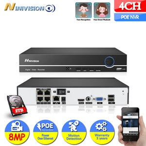 NINIVISION 4CH 4K 8MP 5MP POE NVR Face Recognition H.265+ 4K NVR Network Video Recorder 2 HDD24/7 Recording IP Camera P2P Sy