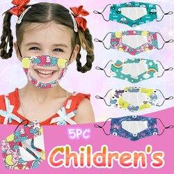 5 pces crianças reutilizáveis máscara facial ao ar livre com janela clara expressão visível para surdo mudo respirável lavável máscara boca