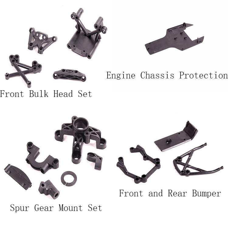 De plástico bajo guardia y parachoques delantero y trasero y delantero juego de mampara y engranaje conjunto de montaje para 1/5 HPI Rovan Km Mcd Baja 5B 5T 5SC Ss