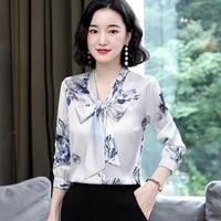 fashion silk blouses women satin print blouse women long sleeve shirts woman v neck silk blouses ladies floral blouse plus size