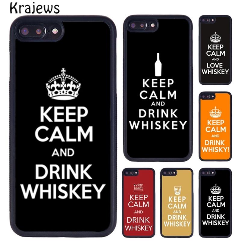 Krajews mantener la calma y beber whisky caja del teléfono para iPhone X XR XS 11 Pro MAX 5 se 6 6S 7 7 8 Plus, Samsung Galaxy S7edge S8 S9 S10