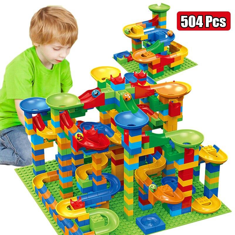 84-504PCS Small Size Marble Race Run Blocks Maze Ball Track Building Blocks Plastic Funnel Slide Assemble DIY Bricks Kids Gift