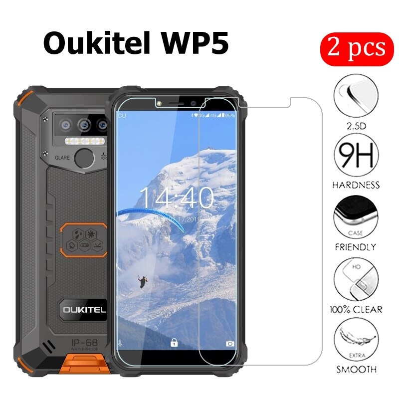 "2 uds para Oukitel WP5 de teléfono 5,45 ""Protector de pantalla a prueba de arañazos Smartphone LCD película para Oukitel WP 5 cubierta de vidrio"