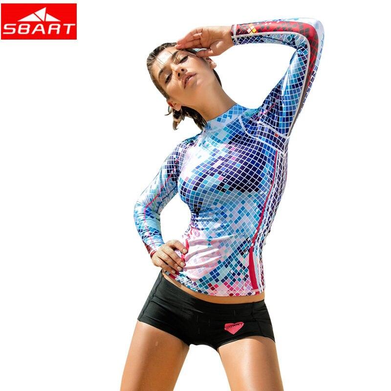 SBART Women Diving Suit Long Sleeve Swimsuit Shirts Bathing Suits Sun UV Dry Surfing Rashguard T-Shirts Swimwear