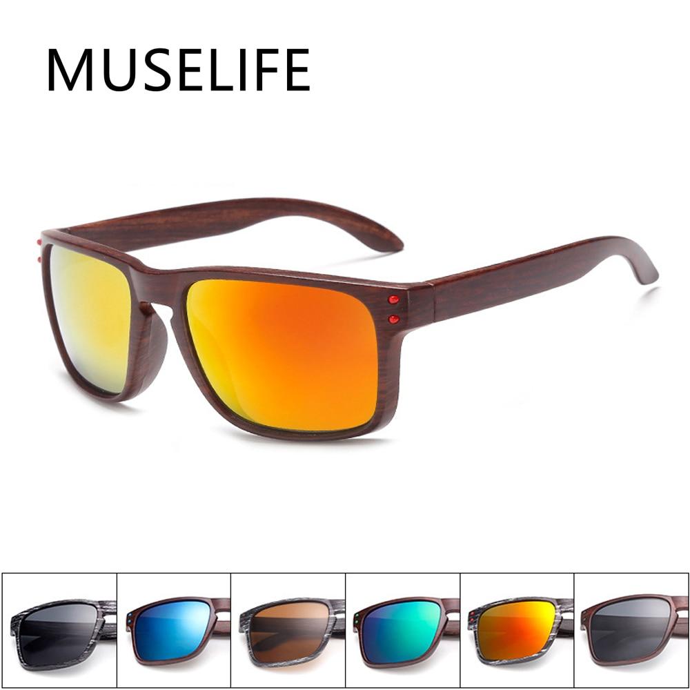 MUSELIFE Fashionable Wood Sunglasses Men Reflective Sports Sun Glasses Outdoors Square Eyewear Gafas