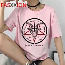 Satan Démon Faucheur Harajuku T-shirt Satanisme Halloween T-shirt Femmes Horreur Tshirt Sataniste Lenfer Ullzang Top T-Shirts Femme
