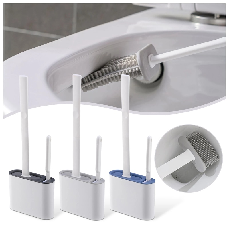Toilet Brush Wc Gap Brush With Holder Toilet Brush Set Flat Head Flexible Bristles Brush Cleaning Brush Bathroom Accessories недорого